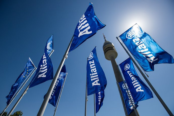 Allianz logo on flag