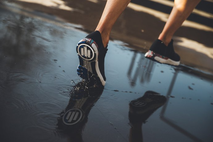 Allianz logo on running shoes