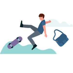 boy falling off skateboard